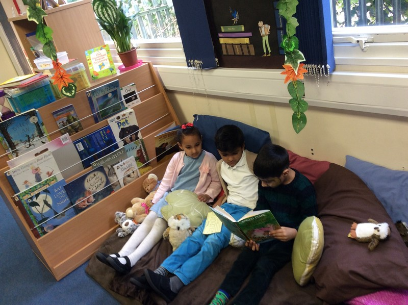 Matilda, Charlie and the Enormous Crocodile sharing a story in Y2